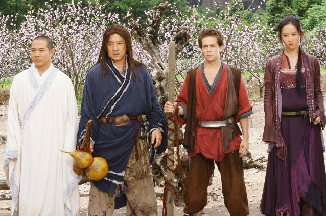 (Left to right) Jet Li,, Jackie Chan, Michael Angarano, Yifei Liu